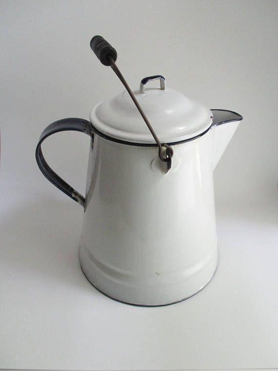 Vintage Enamel Coffee Pot Farmhouse White with Cobalt Trim
