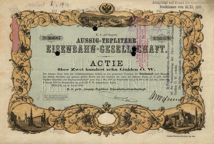 K.k. priv. Aussig-Teplitzer Eisenbahn - Gesellschaft (C. k. priv. společnost Ústecko-Teplické železnice). Akcie na 200 Zlatých. Teplitz (Teplice), 1874.