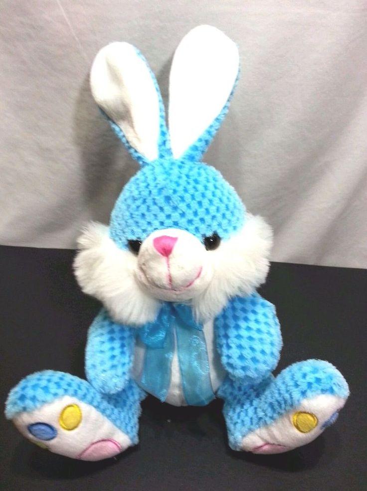 "Chrisha Playful Chenille Blue Bunny Rabbit Circles 17"" Plush Stuffed Animal #CHRISHAPLAYFULPLUSH"
