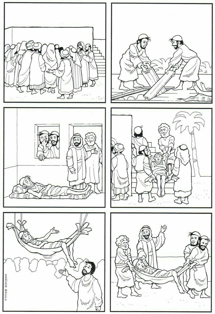 30+ Jesus heals a paralyzed man coloring page download HD