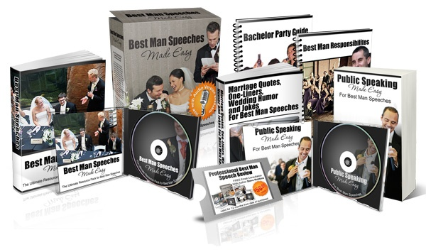 Best Man Speeches Made Easy!  This astonishing package answers all your questions, shows you all the short-cuts, and gives you a quick and easy paint-by-the-numbers method of making a fantastic Best Man speech -- even if you can't write anything more than a grocery list or your own name -- 100% Guaranteed!