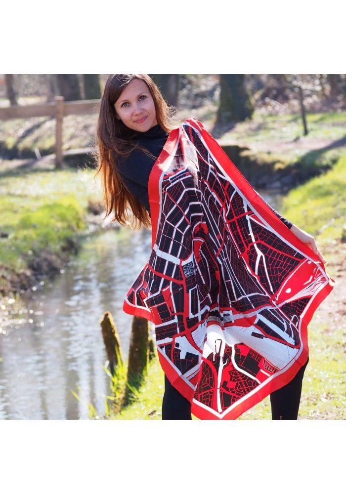 "Silk scarf-map of Amsterdam ""Red lights"". Premium quality, 100%silk, Swiss brand."