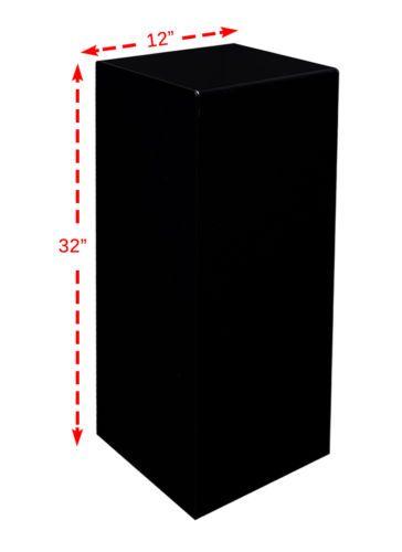 "12"" x 12"" x 32"" Black Acrylic Lucite Display Cube Pedestal Art Sculpture Stand"
