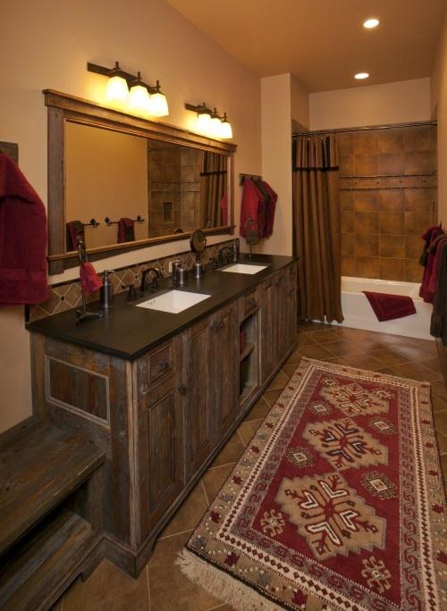 reclaimed pine vanity with honed absolute black granite countertop