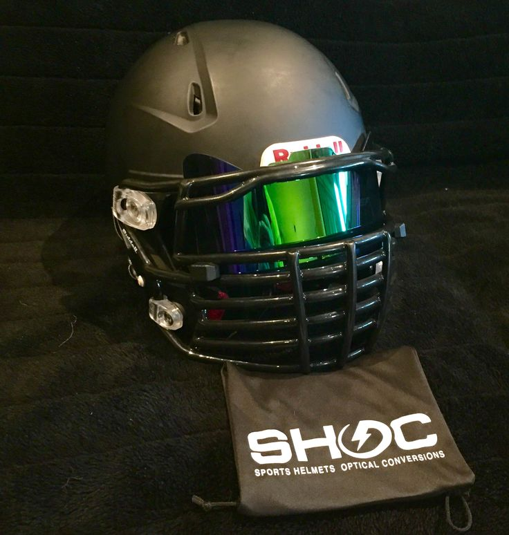 The SHOC Visor in Emerald Iridium. The First Sports Helmet Visor made to fit BOTH Lacrosse and Football Helmets. Here on display in a beautiful Matte Black Riddell Revolution Speed 360 with a BIG GRILL Facemask from GreenGridiron. Get your SHOC Visor today at www.SHOCVisor.com