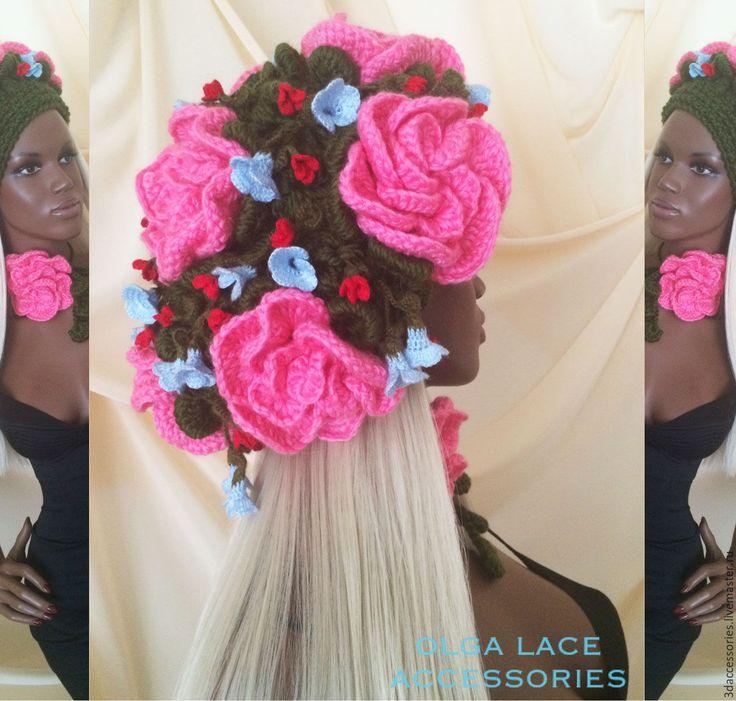"""Купить Вязаный берет """"Цветочная феерия"""" от Olga Lace - вязаный берет, цветочный берет"""