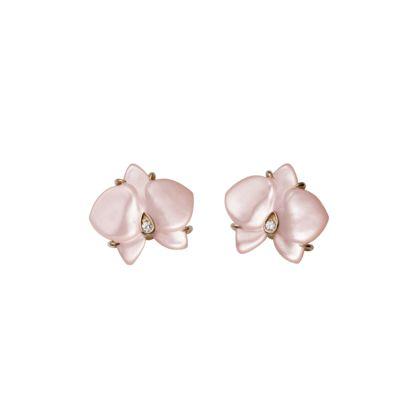 Caresse d'Orchidées par Cartier earrings - Pink gold, pink chalcedony, diamonds - Fine Earrings for women - Cartier
