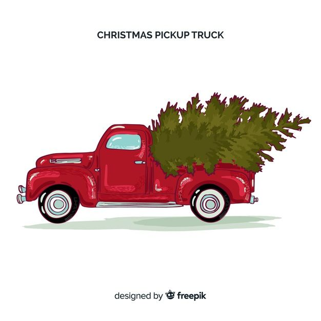 Download Pick Up Truck With Christmas Tree For Free Christmas Truck Free Vector Graphics Vector Free