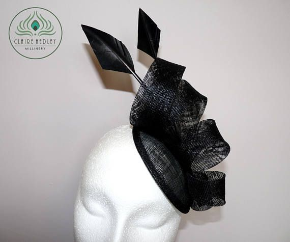 ALANA  Black sinamay cocktail hat feather percher hat black
