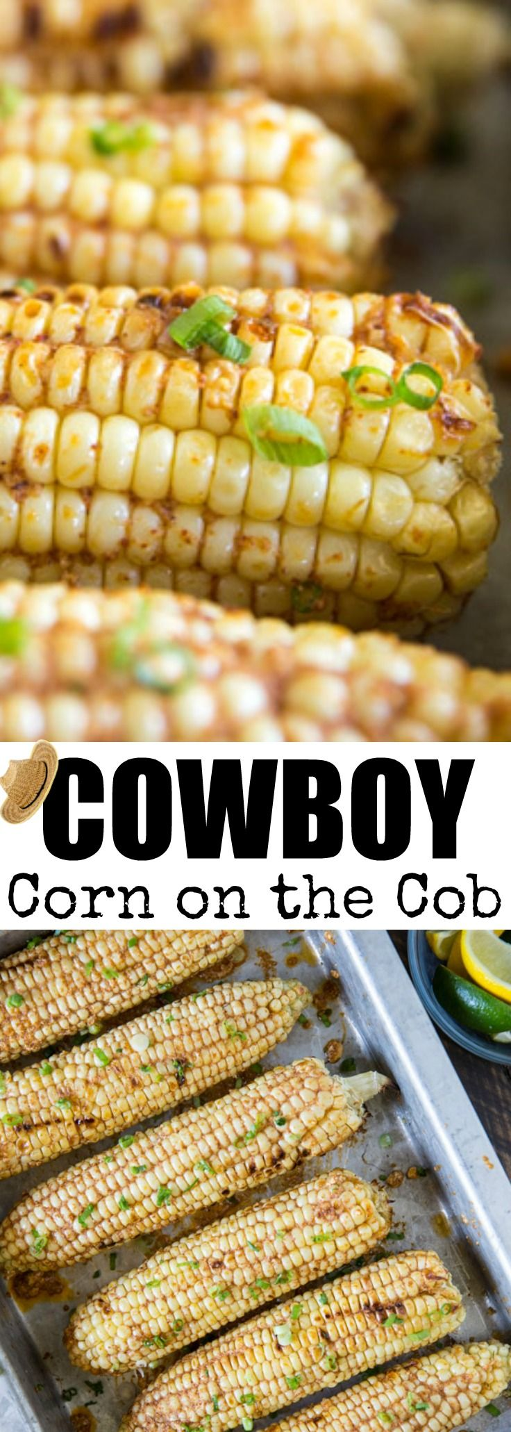 Cowboy Corn on the Cob is sweet and spicy all at once! Make it on the grill or in the oven for the perfect summer side dish. So easy and packed with flavor! via @culinaryhill