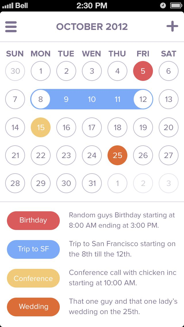 Design for a calendar app by Coleman Tharp.