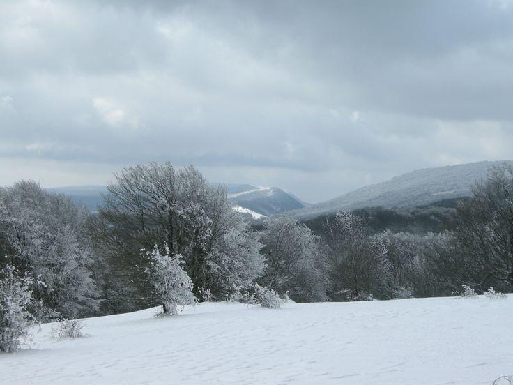 Sierra de Urbasa, Navarra. Panorámica durante una excursión con raquetas de nieve.