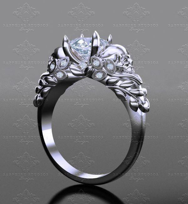 Moissanite Engagement Ring Vintage Art Deco Unique Engagement Ring