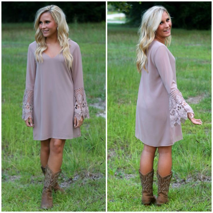 Love this taupe dress with boots!
