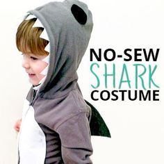 Turn your sweet little one into a ferocious SHARK with this no-sew Halloween costume!