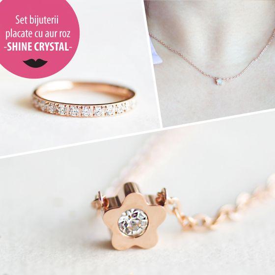 Set bijuterii placate cu aur roz - SHINE CRYSTAL - MSM-Shop