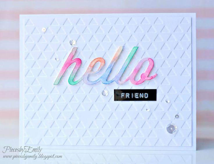 PiecesbyEmily, handmade card, card making, hello card