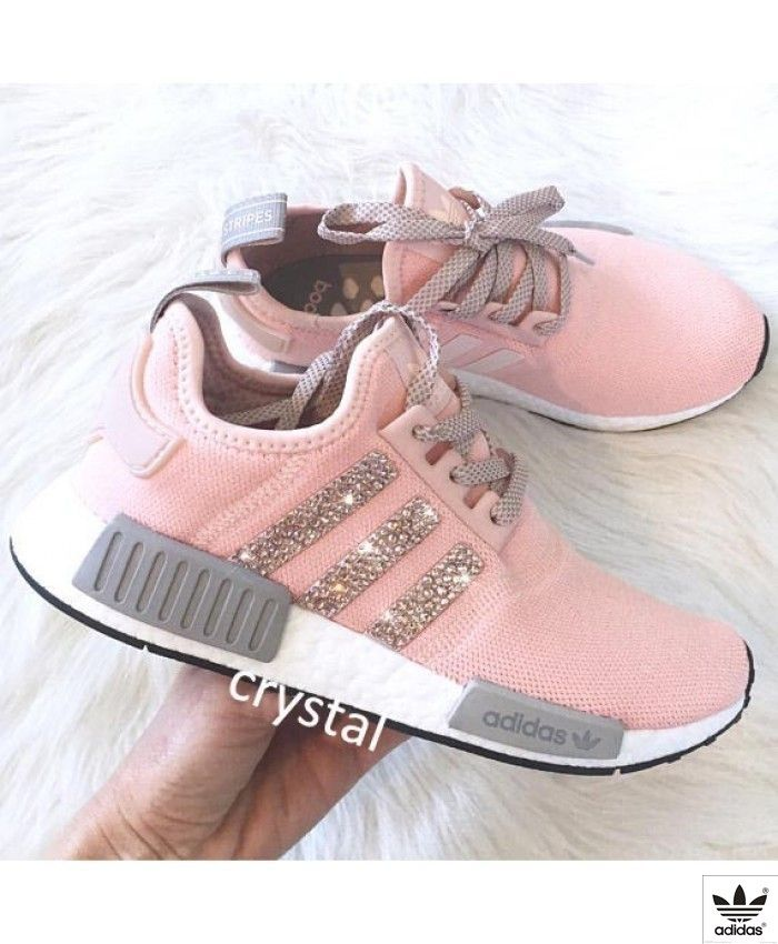 fd0239d84 Adidas NMD Runner Womens Grey Pink White Trainers with Swarovski Crystals