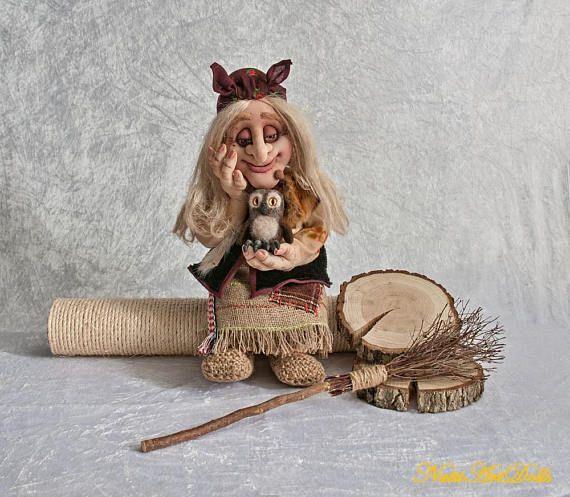 Halloween Art Doll Baba Yaga Interior Textile Doll Slavic