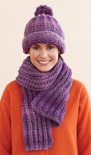 Free Knitting Pattern L0611C Rustic Ribbed Hat and Scarf : Lion Brand Yarn Company