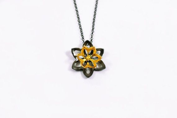 Flower necklace blossom pendant lotus necklace by Akatergasto