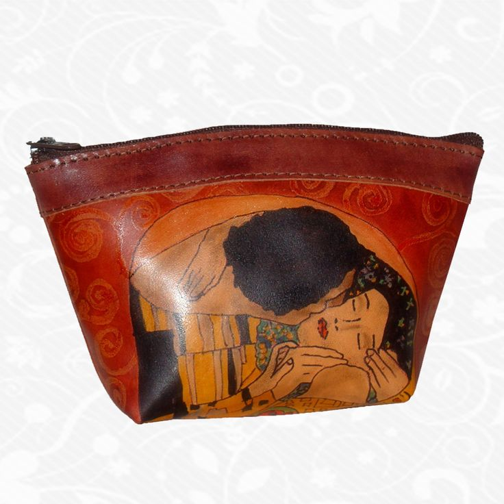 Feature: Gustav Klimt - The Kiss   Original hand-painted leather case - Tote. There is only one piece. Each piece is hand-painted work of art products. Case is a unique original painting beautiful. http://www.vegalm.sk/produkt/rucne-malovane-puzdro-c-94/