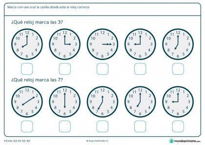 Ficha de horas de reloj
