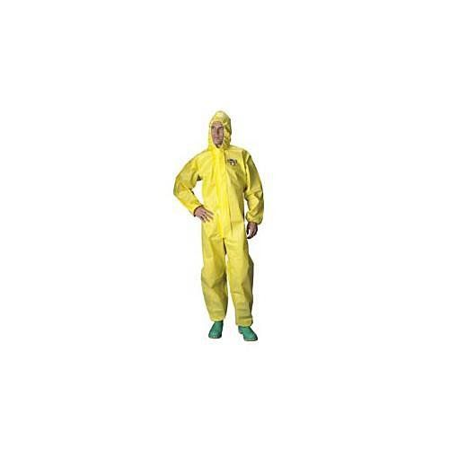 Lakeland Industries C428-LG Chemical Protective Coveralls with Attached Hood - Large, Yellow
