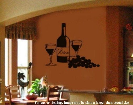 Tuscany Italy Kitchen Wine And Grapes Vinyl Wall By