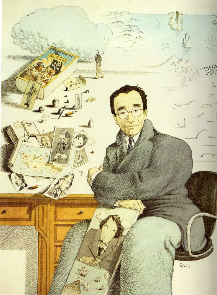 Tullio Pericoli  Autoritratto con ritratto di Stevenson 1991