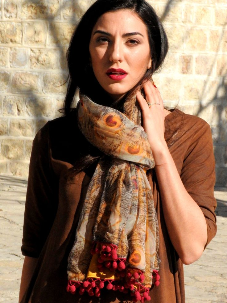 Excited to share the latest addition to my #etsy shop: Handmade Shawl, Peacock Shawl, Silk Chiffon Shawl, Bronze Yellow Scarf, Burgundy Pom Poms, Silk Shawl, Mustard Peacock scarf, Peacock print http://etsy.me/2Hfph34