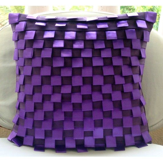 Luxury Purple Cushion Covers Pintucks & Ribbon by TheHomeCentric