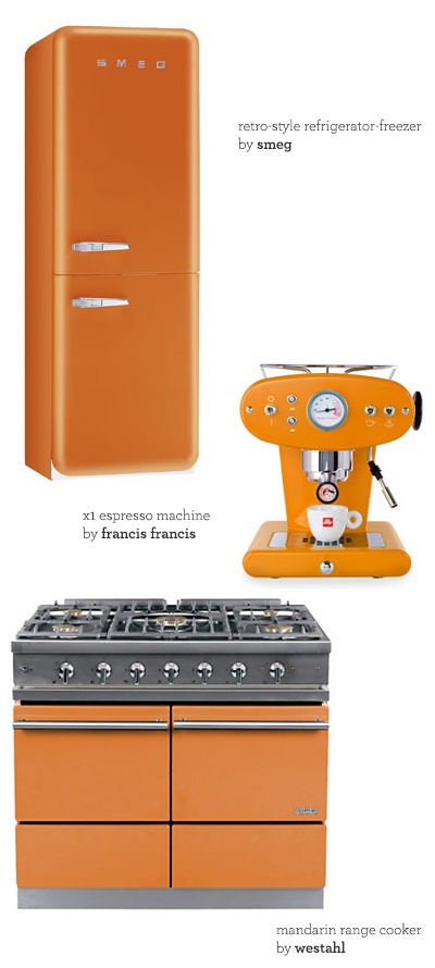 Orange Appliance LoveKitchens Design, Orange Appliances, Appliances Love Goodbye, Love Goodbye Stainless, Kelly Orange, Orange Smeg, Pastel Green, Kitchen Designs, Mushrooms Kitchens