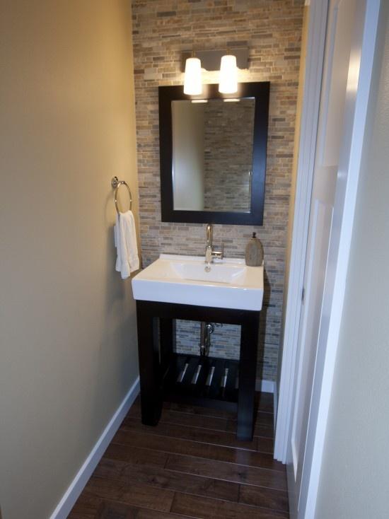 Contemporary powder room small vanity mirror design - Contemporary half bathroom ideas ...