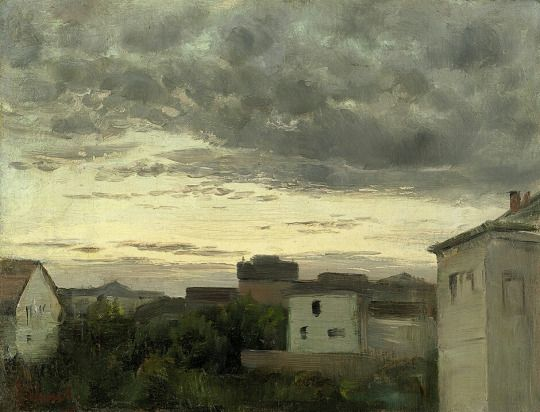 View of a City with Evening Sky, Carl Schuch, s.d.
