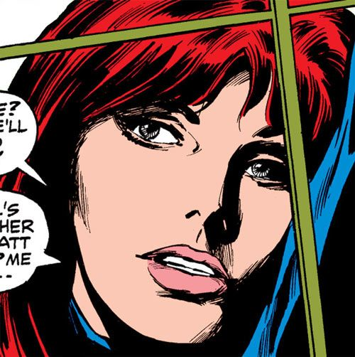 Black Widow (1970s Marvel Comics) face closeup behind a window. From http://www.writeups.org/black-widow-romanova-1970s-marvel-comics/