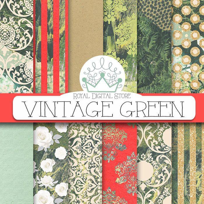 "Green digital paper: ""VINTAGE GREEN"" with #green #background, #green #pattern, #green #scrapbook #paper, green background, #greenery, #retro #digitalpaper #wedding #gold #glitter #red #damask #planner"