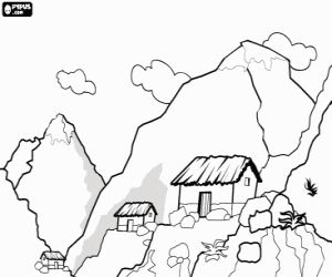 A high mountain landscape coloring page