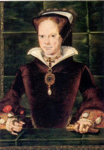 Queen Mary I: painted in 1554, this is perhaps the most famous image of the queen. It is a conventional pose and the queen appears quite confident, reflecting the celebration and optimism which greeted her ascension. She holds a red rose, which was a personal symbol, referring both to the Tudor rose and her Christian name.