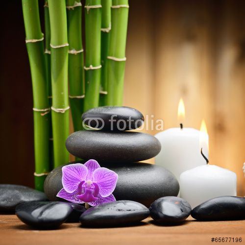 spa still life zen basalt stones and orchid