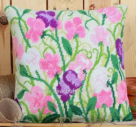 Sweet Peas Tapestry Kit Cushion Front