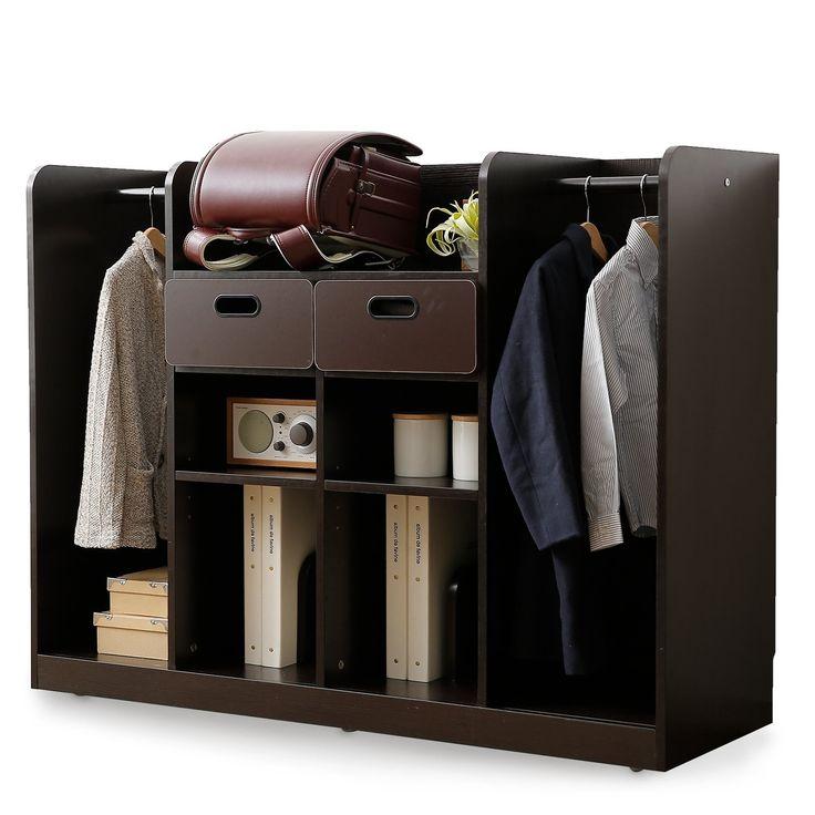 Amazon.co.jp: LOWYA (ロウヤ) ランドセルラック ハンガーラック 本棚 引き出し キャスター付き ワイド 幅120cm type2 ダークブラウン×ブラウン おしゃれ: ホーム&キッチン
