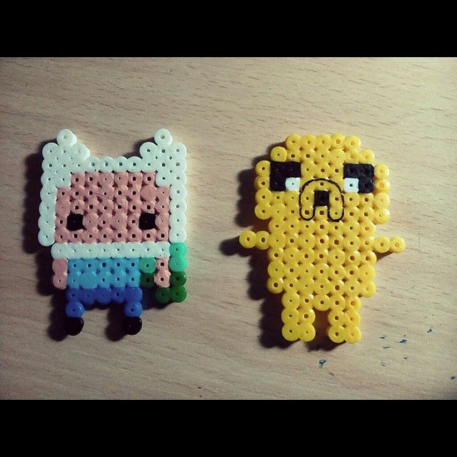 Finn and Jake Adventure Time hama beads by jgabby8