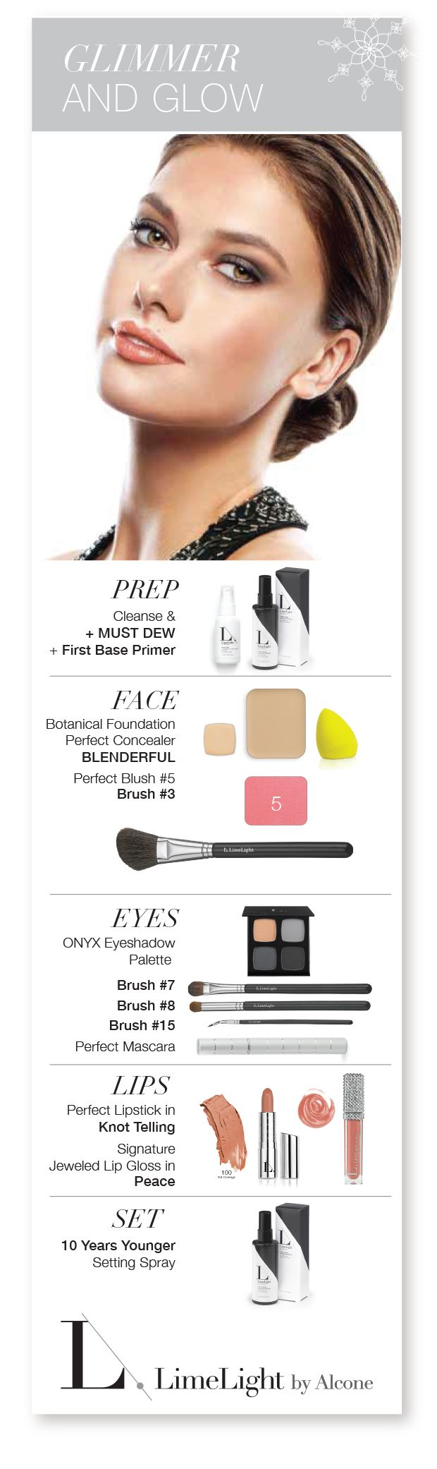 Get Gorgeous for the Holiday or any day! Follow these steps for the most beautiful you. LimeLight by Alcone  Professional beauty products and skin care