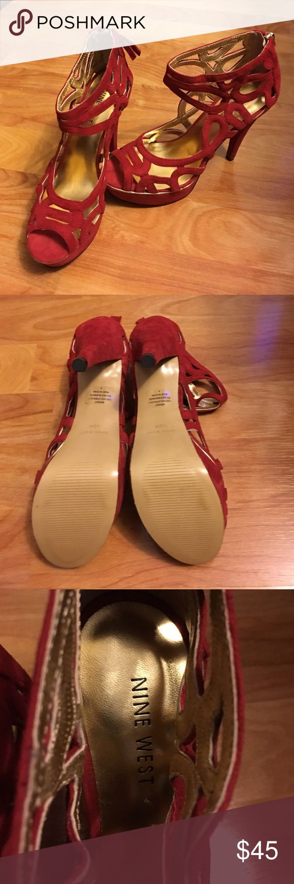 Nine West red platform heels Beautiful and sexy red platform heels!  Brand new but no box. It's a tiny bit big for me. Thought I might still wear it but never did except for trying on and walking around the house. Nine West Shoes Heels
