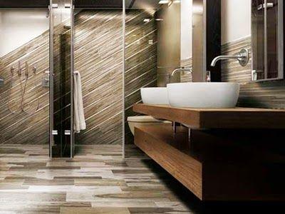 Modern Wooden Tile Floor Design Ideas for Bathroom
