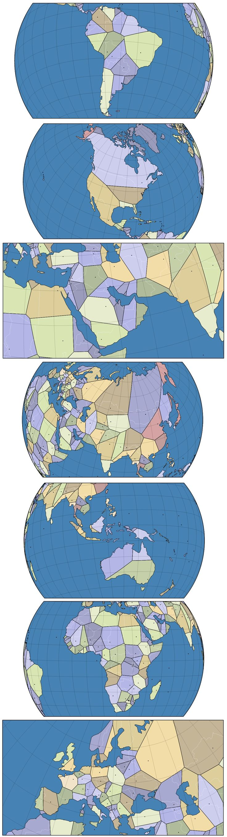 Voronoi map world capitals 19 best Voronoi