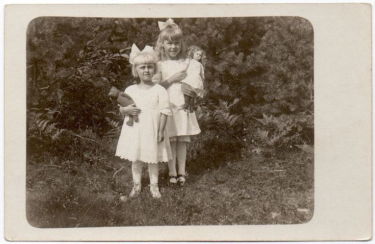 Real Photo Postcard Two Young Blonde Girls Holding a Doll & Teddy Bear~106208 | eBay