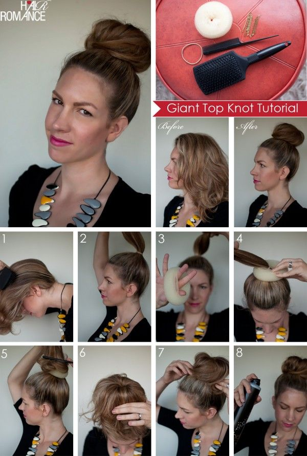 Anatomy of a top knot: Hair Tutorials, Hair Romance, Long Hair, Buns Tutorials, Hair Style, Big Tops, Socks Buns, Tops Knot, Hair Buns