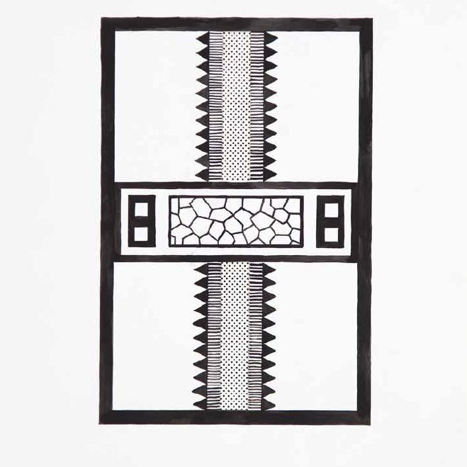 """PROJECT FOR CARPET"" BY NATHALIE DU PASQUIER, 1983  Letraset and goauche on paper, 71,5 x 37 cm (framed).  Letraset and goauche on paper, 71,5 x 37 cm (framed)."